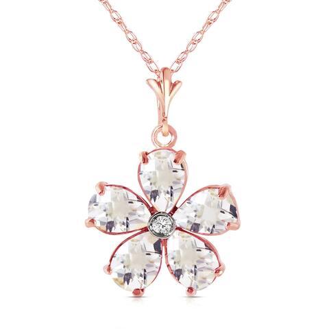 2.22 Carat 14K Soild Gold Natural Rose Topaz & Diamond Necklace