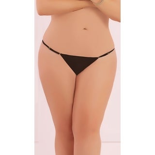 Plus Size Adjustable Mesh Thong, Plus Size Solid Thong
