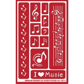 """Over 'N' Over Reusable Stencils 5""""X8""""-Musical Notes"""