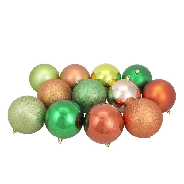 """12ct Orange and Green Shatterproof 3-Finish Christmas Ball Ornaments 4"""" (100mm). Opens flyout."""