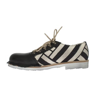 Dolce & Gabbana Dolce & Gabbana Black Beige Leather Linen Derby Shoes - eu44-us11