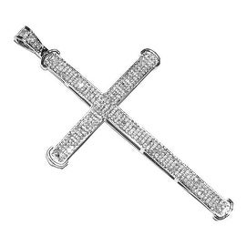 0.65cttw Real Diamond Cross Pendant 53mm Tall Mens Pendant