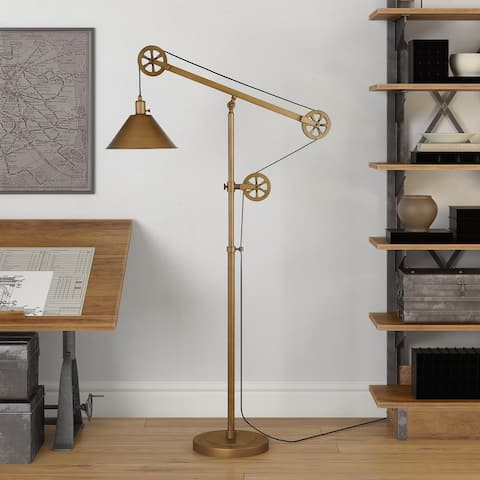 Carbon Loft Tirith Industrial Farmhouse Floor Lamp with Pulley System