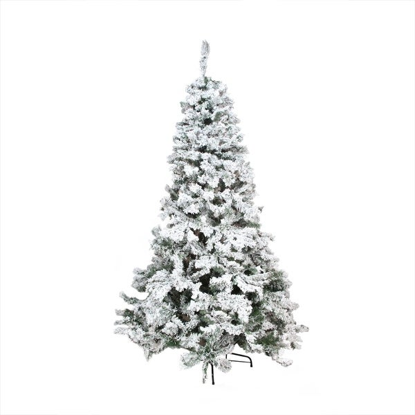 7.5' Heavily Flocked Pine Medium Artificial Christmas Tree - Unlit -  Green - Shop 7.5' Heavily Flocked Pine Medium Artificial Christmas Tree