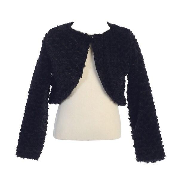 Baby Girls Black Faux Fur Soft Swirl Long Sleeved Stylish Bolero 12-24M - 12-24 months