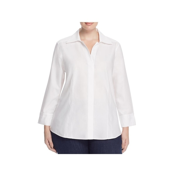 Foxcroft Womens Plus Taylor Button-Down Top Non-Iron Long Sleeves