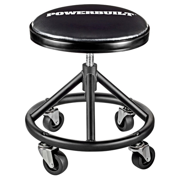 Powerbuilt Heavy Duty Screw Post Style Rolling Seat, Garage Swivel Chair
