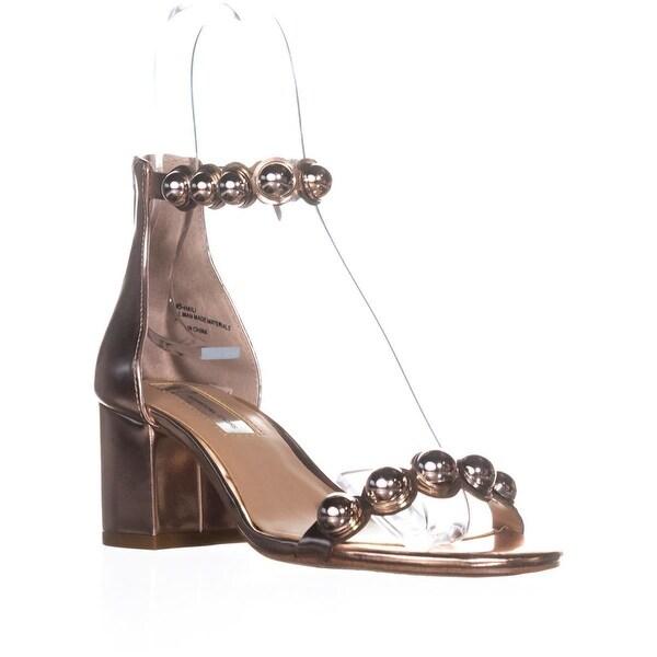 I35 Haili Ankle Strap Block Heel Sandals, Rose Gold - 6 us
