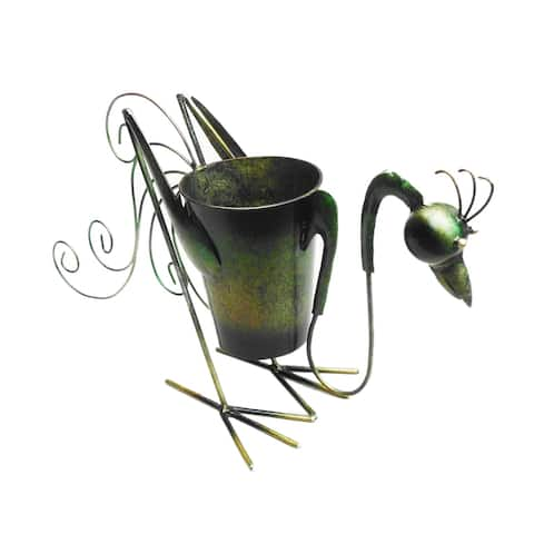Offex Handmade Iron Multi Color Rooster Planter Decor