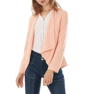 Unique Bargains Women's Turn Down Collar Long Sleeves Front Opening Blazer Pink XS