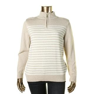 Karen Scott Womens 1/4 Zip Marled Mock Turtleneck Sweater