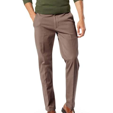 Dockers Mens Workday Khaki Pant Brown Size 46x32 Big & Tall Tapered Fit