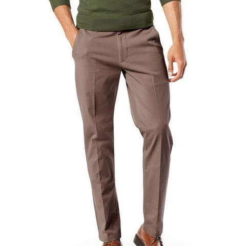 Dockers Mens Workday Khaki Pant Brown Size 52x32 Big & Tall Tapered Fit