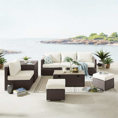 8 Piece Outdoor Patio Furniture Sofa Set, Wicker Rattan Sectional Sofa Set with Coffee Tables (Brown Base)