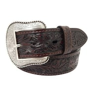 Roper Western Belt Mens Hand Tooled Leaf Design Floral Etch