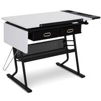 Gymax Adjustable Drafting Table Art & Craft Station Drawing Desk w/Drop leaf & Drawers