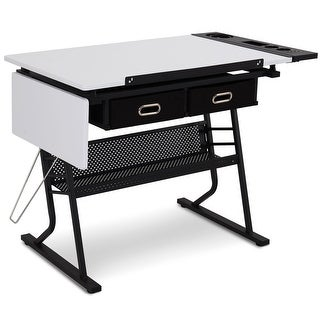 Gymax Adjustable Drafting Table Art & Craft Station Drawing Desk w/Drop leaf & Drawers