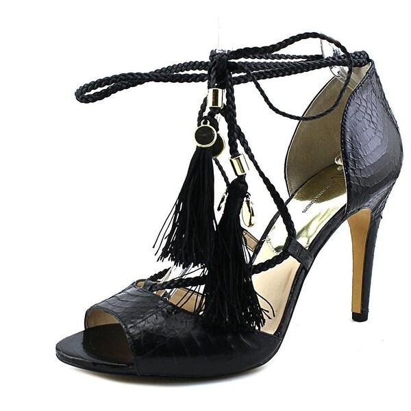 INC International Concepts Reagenne Women Open-Toe Leather, Black, Size 10.0