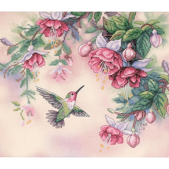 Hummingbird & Fuchsias Stamped Cross Stitch Kit