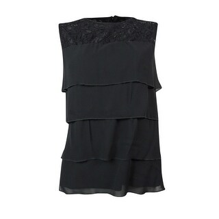 MSK Women's Chiffon Tiered Sleeveless Illusion Blouse - Black - m