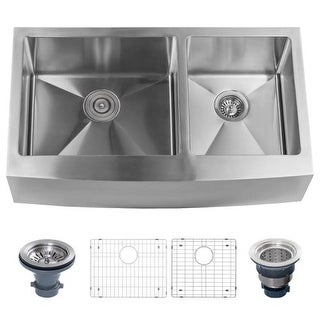 """Miseno MSS3320F6040 Farmhouse 33"""" Double Basin Stainless Steel Kitchen Sink with Apron Front with 60/40 Split - Drain Assemblies"""