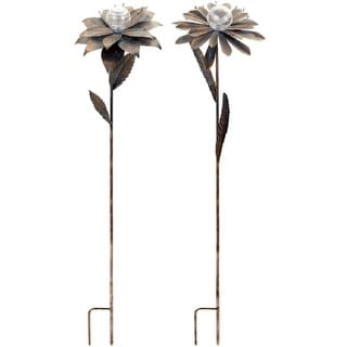 Pack of 4 Metal Solar Powered Flower Garden Stakes 3.5' - 2 Styles