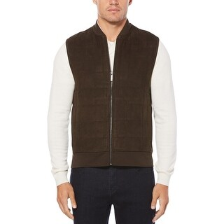 Perry Ellis Mens Outerwear Vest Winter Faux Suede - XL