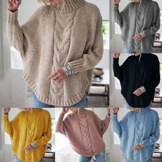 Link to Women's Sweater Casual Bat Wing Sleeve  Pullovers Sweater Jumper Sweatershirt Similar Items in Women's Sweaters