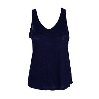 Maison Jules Navy Sleeveless Cotton V-Neck Tank Top XXL