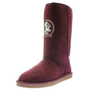 Cuce Shoes Womens Florida State Seminoles Faux Suede Mid-Calf Casual Boots - 9