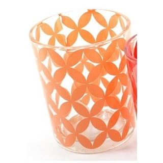 Basic Luxury Peach Melba Floral Motif Glass Tea Light Candle Holder 2.5""