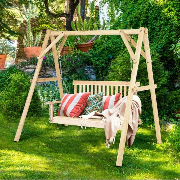 Natural Wood Garden Swing Bench