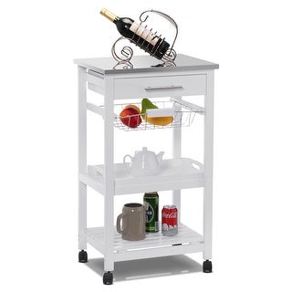 Costway Rolling Kitchen Trolley Cart Steel Top Removable Tray W/Storage Basket &Drawers - White