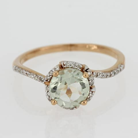 Green Amethyst and 1/10ct TDW Diamond Floral Halo Ring in 14k Rose Gold by Miadora - Purple