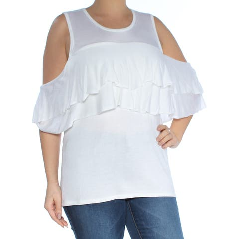 CALVIN KLEIN Womens White Cold Shoulder Ruffled Short Sleeve Scoop Neck Sweater Size: L
