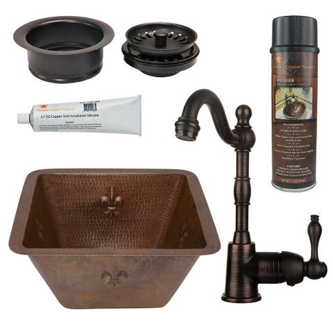 Premier Copper Products BSP4_BR17DB-G Bar Sink, Faucet and Garbage Disposal Drain Package