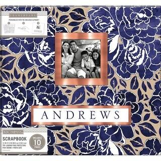 """K&Company Frame-A-Name Post Bound Album 12""""X12""""-Indigo Floral"""