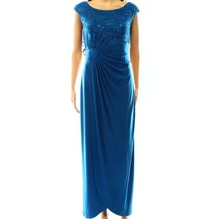 Connected Apparel NEW Blue Peacock Womens Size 10 Sequin Lace Ball Gown
