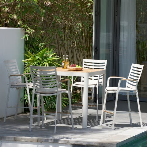 Portals Outdoor Patio Aluminum Barstool in Light Matte Sand with Natural Teak Wood Accent