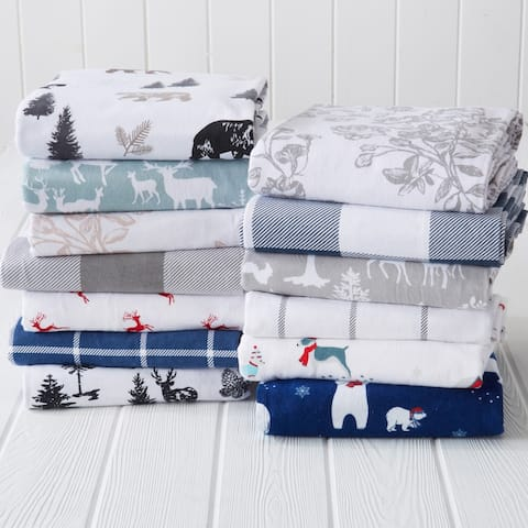 Great Bay Home Extra Soft Cotton Flannel Printed Bed Sheet Set