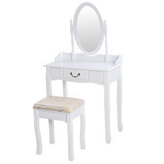 White Vanity Makeup Dressing Table with Rotating Mirror