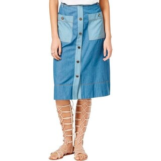 Rachel Rachel Roy Womens Denim Skirt Denim Colorblock