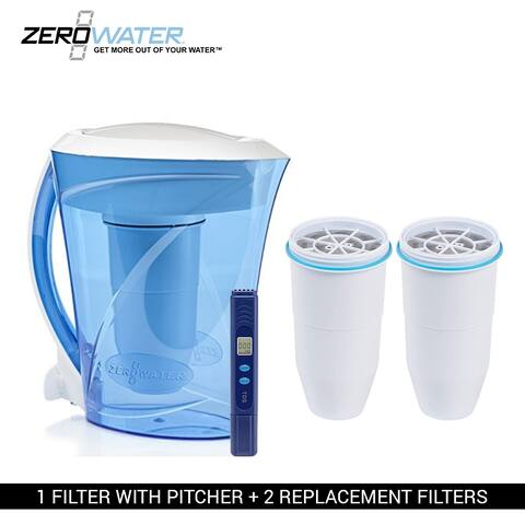 Zero Water 8-Cup Ion Exchange Water Dispenser Pitcher & 2 Replacement Filters Combo