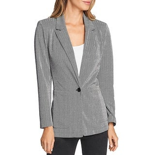 Link to Vince Camuto Womens Knit Blazer Herringbone One Button - Rich Black Similar Items in Suits & Suit Separates