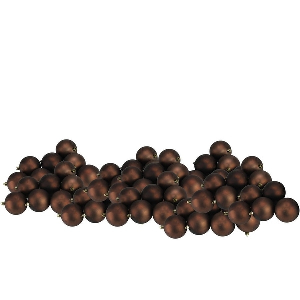 "60ct Matte Chocolate Brown Shatterproof Christmas Ball Ornaments 2.5"" (60mm)"