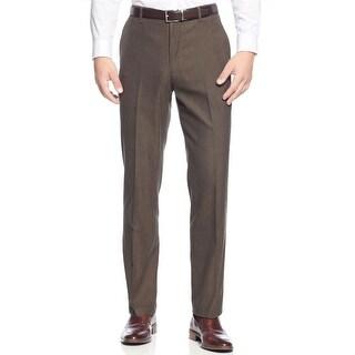 Tasso Elba Regular Fit Twill Flat Front Dress Pants Brown Combo 34W x 32L - 34
