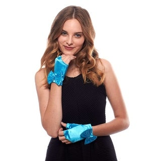 Bouquet Toss Satin Wrist Length Fingerless Gloves with Bow