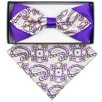 Men's Beige And Purple Paisley Diamond Tip Bow Tie With Matching Hanky - regular