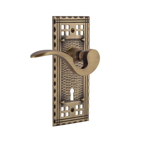 "Nostalgic Warehouse CRAMAN_PRV_238_KH Manor Privacy Door Lever Set with Craftsman Rose and Decorative Keyhole for 2-3/8"""