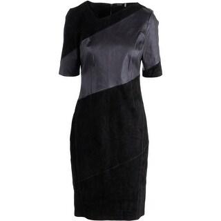 Elie Tahari Womens Lamb Suede Leather Wear to Work Dress - 4